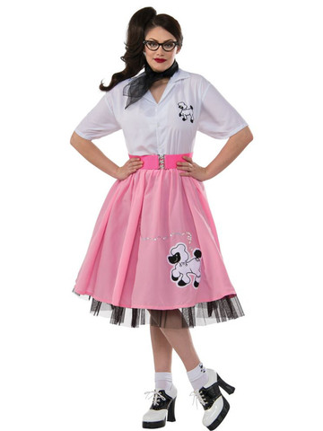 Womens Plus Size Black and White 50's Poodle Outfit
